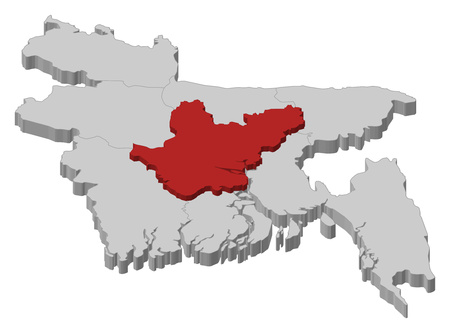Map of Bangladesh as a gray piece., Dhaka is highlighted in red. Illustration