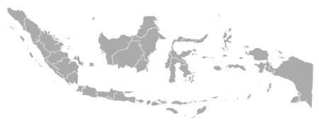 southeastern asia: Map of Indonesia with the provinces.