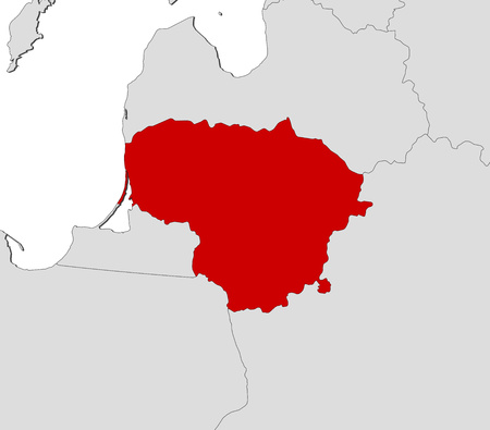 frontiers: Map of Lithuania and nearby countries, Lithuania is highlighted in red. Illustration