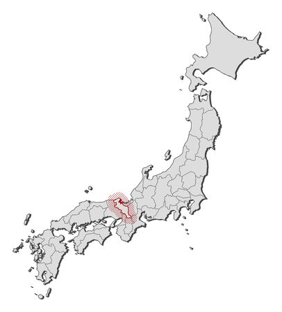 Map of Japan with the provinces, Kyoto is highlighted by a hatching. Illustration