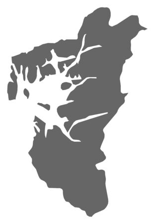 Map of Rogaland, a province of Norway. Illustration