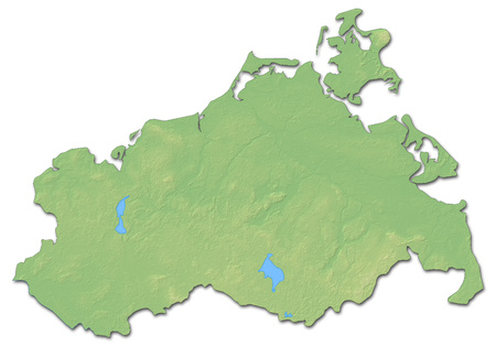 federal republic of germany: Relief map of Mecklenburg-Vorpommern, a province of Germany, with shaded relief.