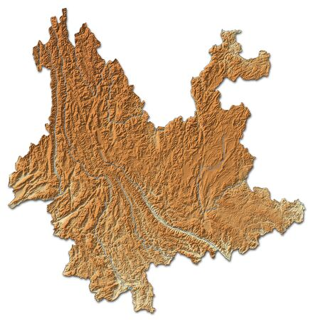 Relief map of Yunnan, a province of China, with shaded relief.