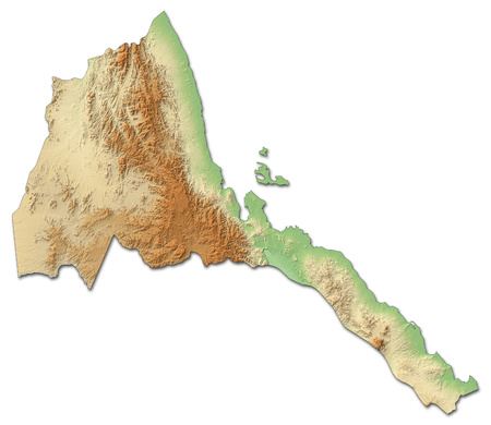 shady: Relief map of Eritrea with shaded relief.
