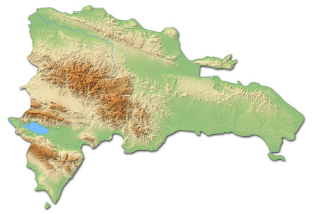 middle america: Relief map of Dominican Republic with shaded relief. Stock Photo
