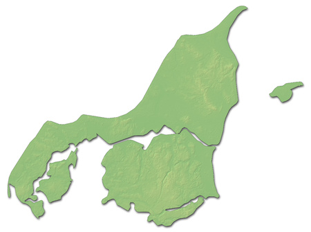 general: Relief map of North Denmark, a province of Denmark, with shaded relief. Stock Photo
