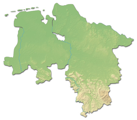 federal republic of germany: Relief map of Lower Saxony, a province of Germany, with shaded relief.