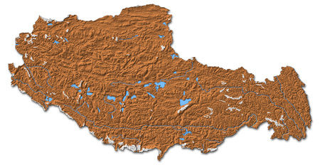 Relief map of Tibet, a province of China, with shaded relief.