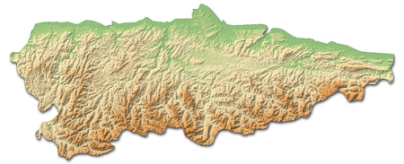 Relief map of Asturias, a province of Spain, with shaded relief. Stock Photo