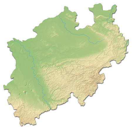 Relief map of North Rhine-Westphalia, a province of Germany, with shaded relief. Stock Photo