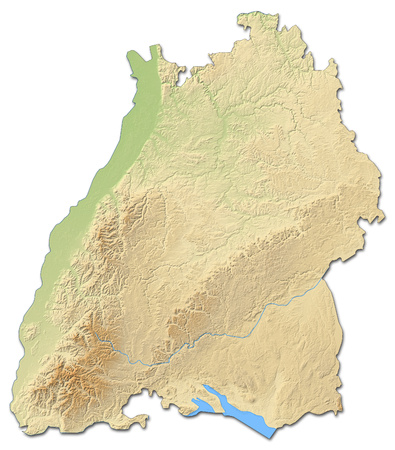 federal republic of germany: Relief map of Baden-W?rttemberg, a province of Germany, with shaded relief.