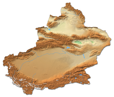 prc: Relief map of Xinjiang, a province of China, with shaded relief.