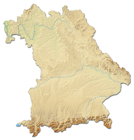 federal republic of germany: Relief map of Bavaria, a province of Germany, with shaded relief.