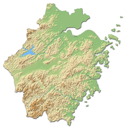 shady: Relief map of Zhejiang, a province of China, with shaded relief.