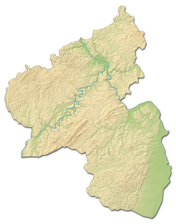 shaded: Relief map of Rhineland-Palatinate, a province of Germany, with shaded relief. Stock Photo