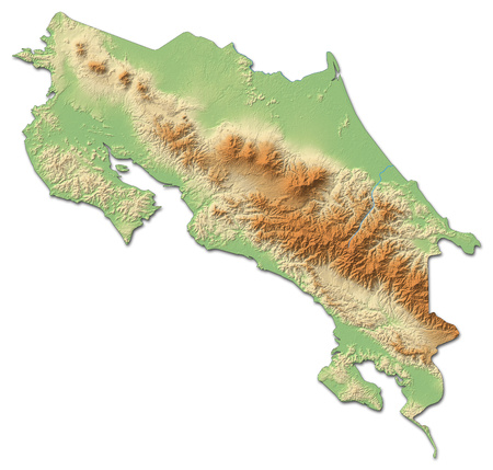 Relief map of Costa Rica with shaded relief.