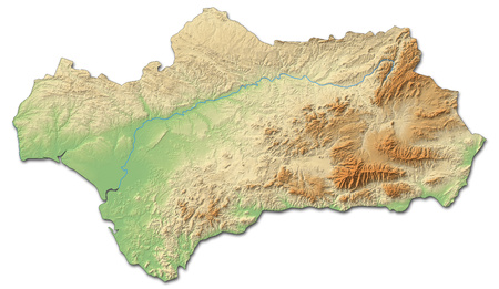 Relief map of Andalusia, a province of Spain, with shaded relief. Stock Photo