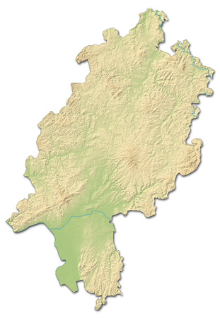 Relief map of Hesse, a province of Germany, with shaded relief. Stock Photo