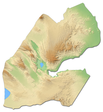Relief map of Djibouti with shaded relief.