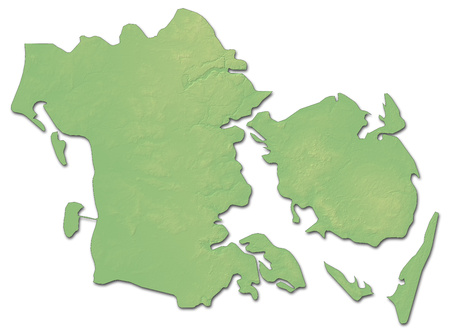 Relief map of South Denmark, a province of Denmark, with shaded relief.