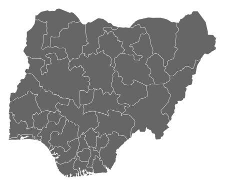 nigeria: Map of Nigeria as a dark area.
