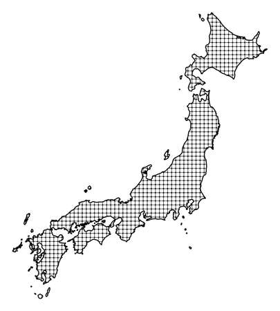 Map of Japan, shaded.
