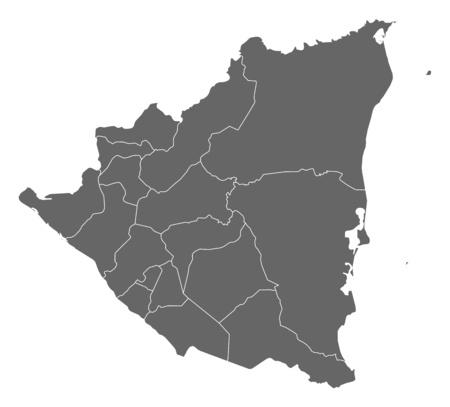 nicaragua: Map of Nicaragua as a dark area.