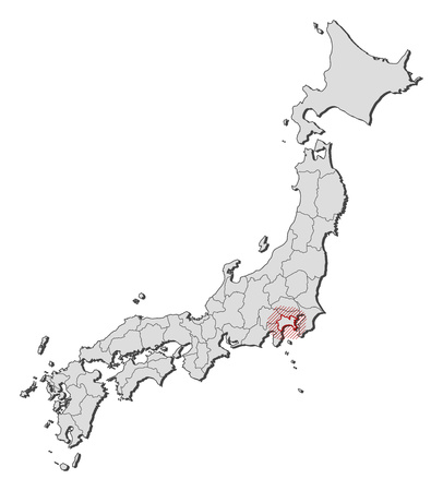 Map of Japan with the provinces, Kanagawa is highlighted by a hatching. Illustration