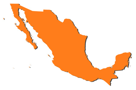 Map of Mexico, filled in orange. Illustration