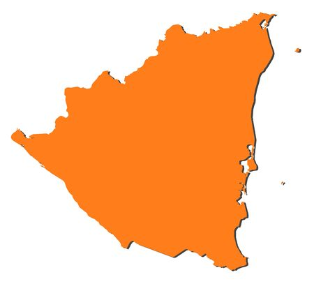 Map of Nicaragua, filled in orange. Illustration