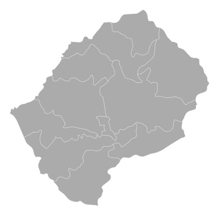 lesotho: Map of Lesotho with the provinces. Illustration