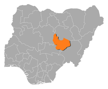 Map of Nigeria with the provinces, Plateau is highlighted by orange. Illustration