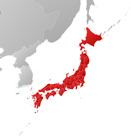 Map of Japan with the provinces and nearby countries, filled with a linear gradient.