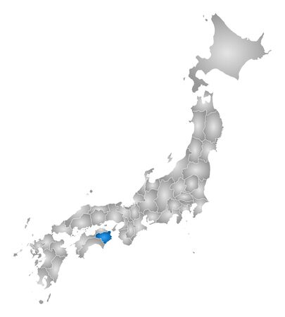 tone shading: Map of Japan with the provinces, filled with a radial gradient, Tokushima is highlighted.