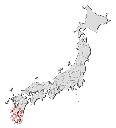 Map of Japan with the provinces, Kagoshima is highlighted by a hatching. Illustration