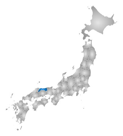 tone shading: Map of Japan with the provinces, filled with a radial gradient, Tottori is highlighted. Illustration