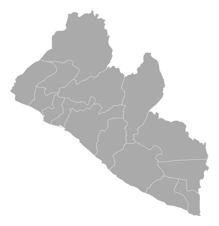 frontiers: Map of Liberia with the provinces.