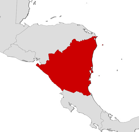 Map of Nicaragua and nearby countries, Nicaragua is highlighted in red.