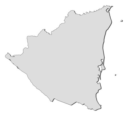 Map of Nicaragua, filled in gray. Illustration