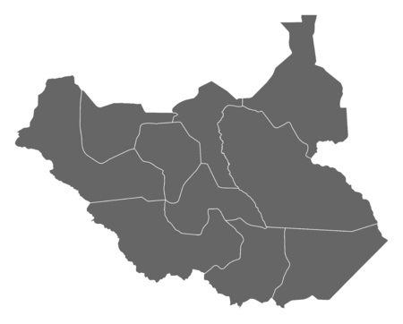south sudan: Map of South Sudan as a dark area.
