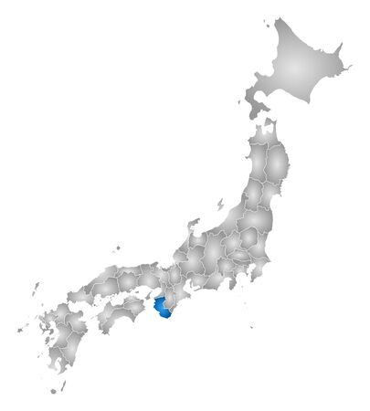 tone shading: Map of Japan with the provinces, filled with a radial gradient, Wakayama is highlighted.