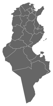 Map of Tunisia as a dark area.
