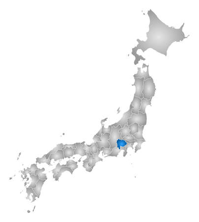 tone shading: Map of Japan with the provinces, filled with a radial gradient, Yamanashi is highlighted.