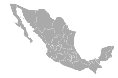 Map of Mexico with the provinces. Illustration
