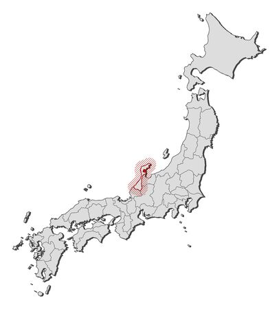 Map of Japan with the provinces, Ishikawa is highlighted by a hatching.