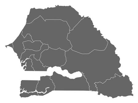 subdivisions: Map of Senegal as a dark area.