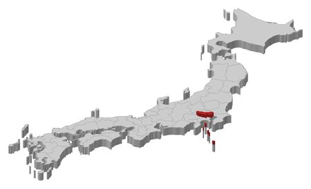 Map of Japan as a gray piece., Tokyo is highlighted in red. Illustration