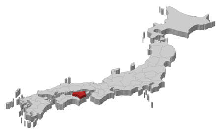 Map of Japan as a gray piece., Tokushima is highlighted in red. Ilustrace