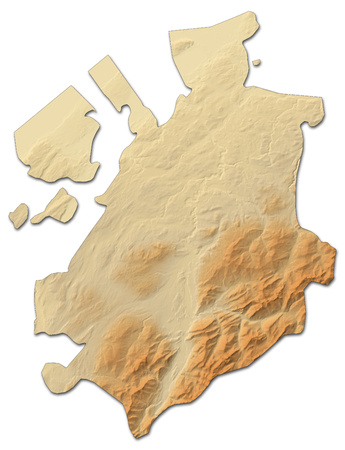 Relief map of Fribourg, a province of Swizerland, with shaded relief.