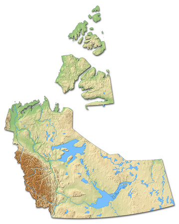 Relief map of Northwest Territories, a province of Canada, with shaded relief.